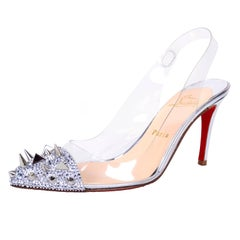 Christian Louboutin Just Picks Silver Spike Sling Back Heels W/Box & Bag Size 38