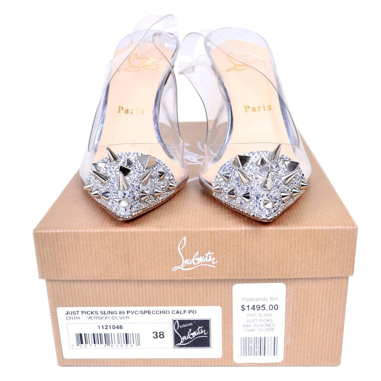 Christian Loutoutin Just Picks Silver Spike Sling Back Shoes W/Box & Bag Size 38 For Sale 1