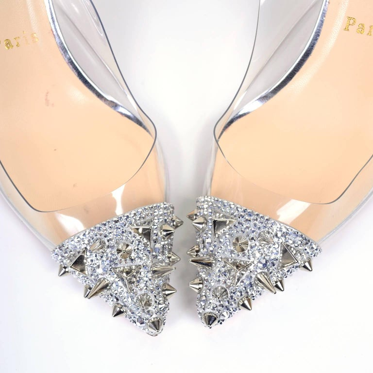 Christian Loutoutin Just Picks Silver Spike Sling Back Shoes W/Box & Bag Size 38 For Sale 6