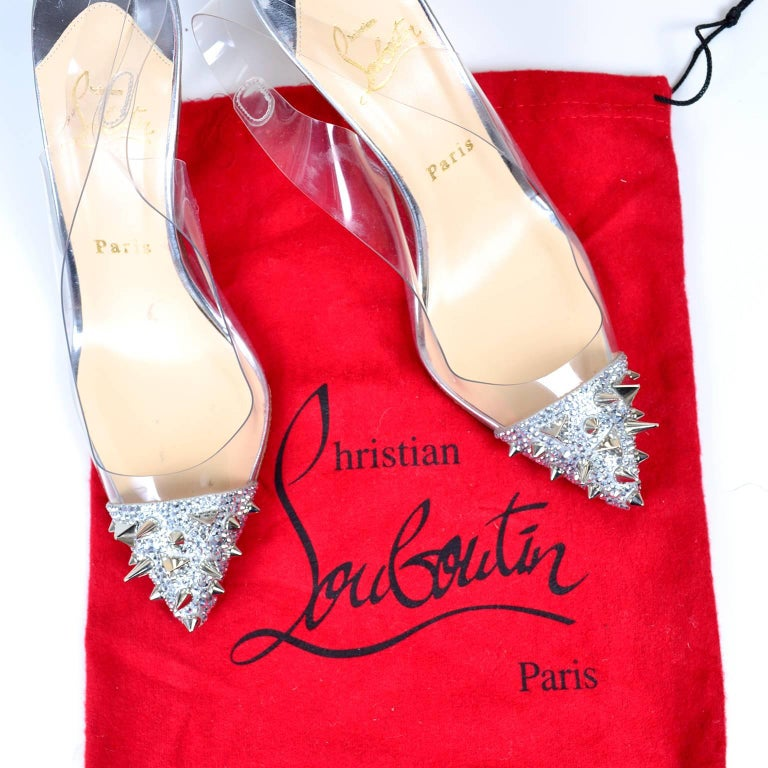Christian Loutoutin Just Picks Silver Spike Sling Back Shoes W/Box & Bag Size 38 For Sale 2