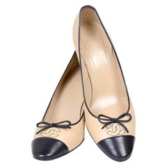 Chanel Shoes Beige and Black 37.5 Pumps with Bows Black Heels With Box
