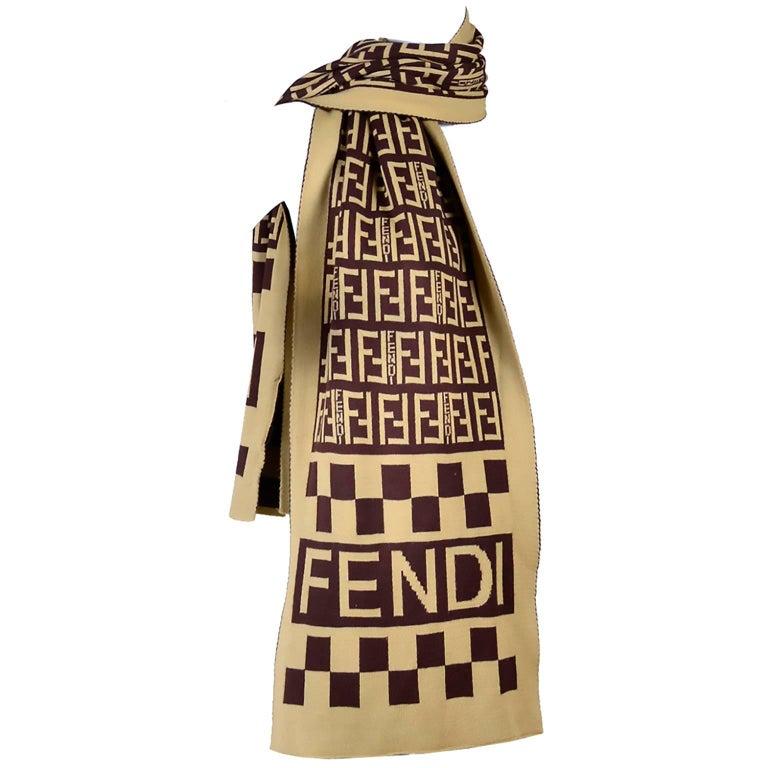 Beige  Fendi Vintage Zucca Monogram Cashmere Wool Logo Scarf Muffler  For Sale