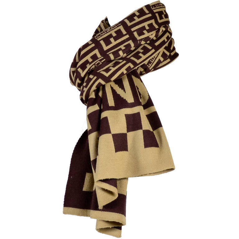 bb88fbf8f57 Fendi Vintage Zucca Monogram Cashmere Wool Logo Scarf Muffler For Sale.  This is a great long vintage scarf from Fendi in brown and creamy beige  with the