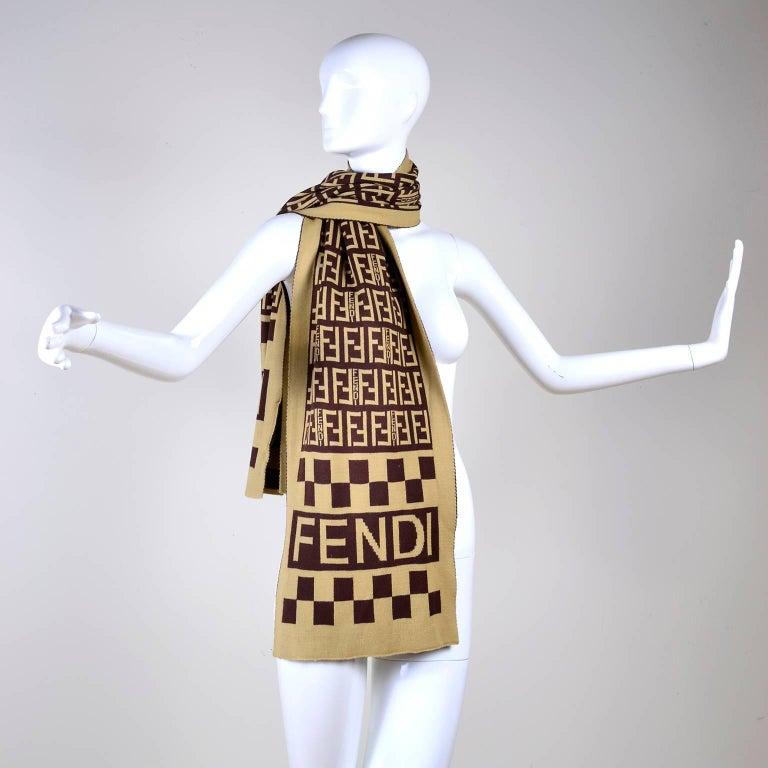 Fendi Vintage Zucca Monogram Cashmere Wool Logo Scarf Muffler  For Sale 1