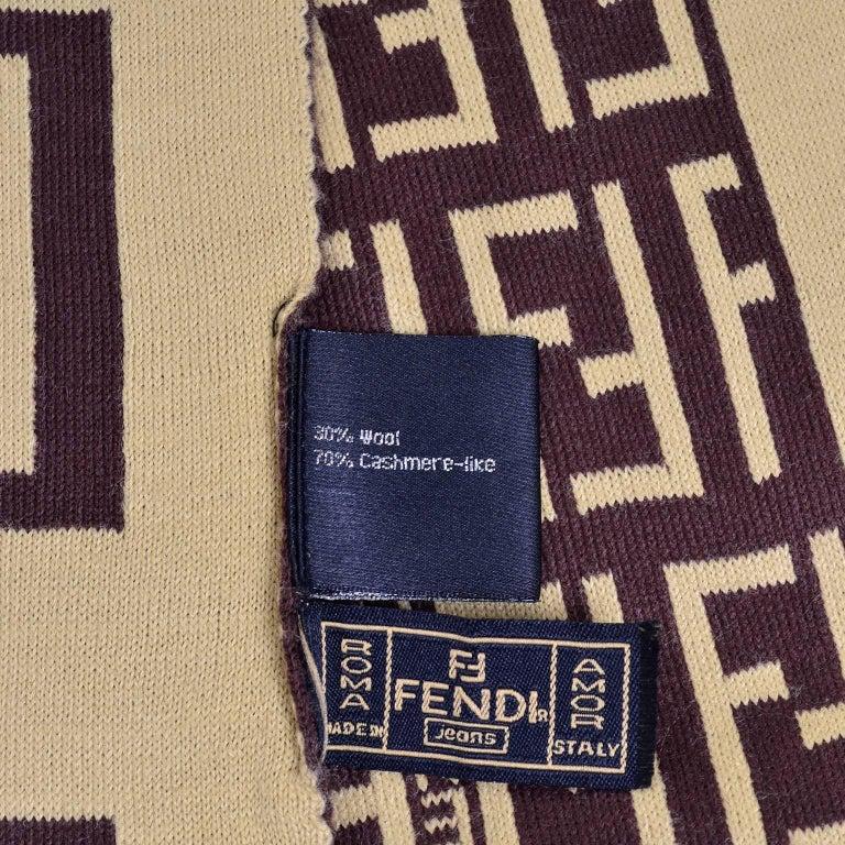 Fendi Vintage Zucca Monogram Cashmere Wool Logo Scarf Muffler  For Sale 2