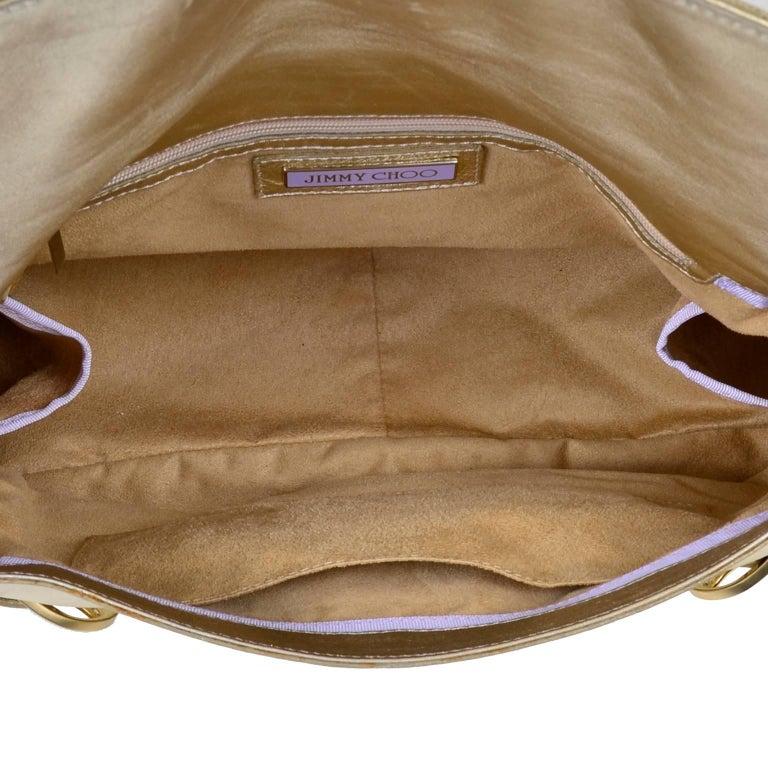 Vintage Jimmy Choo Gold Leather Hobo Bag Handbag With Dust Bag 4
