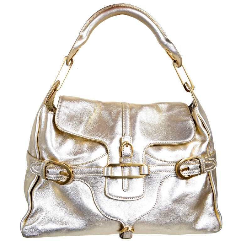 Vintage Jimmy Choo Gold Leather Hobo Bag Handbag With Dust Bag 6