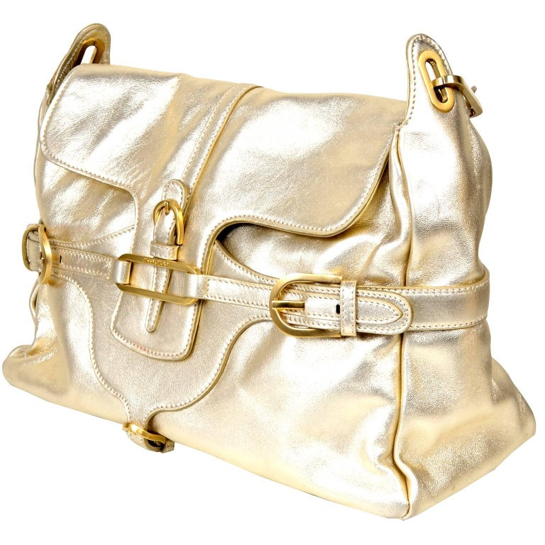 Vintage Jimmy Choo Gold Leather Hobo Bag Handbag With Dust Bag