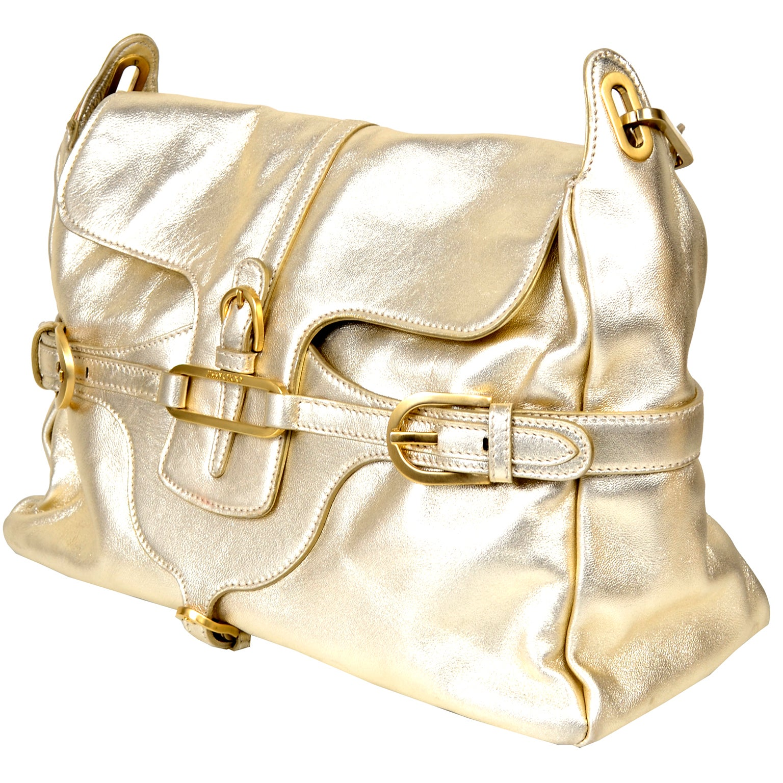 Jimmy Choo Vintage Gold Leather Hobo Bag Handbag