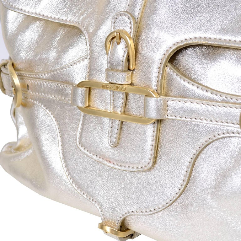 Jimmy Choo Vintage Gold Leather Hobo Bag Handbag  In Excellent Condition For Sale In Portland, OR
