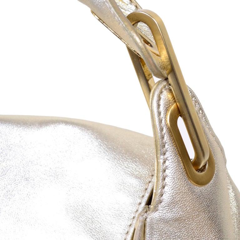 Vintage Jimmy Choo Gold Leather Hobo Bag Handbag With Dust Bag 7