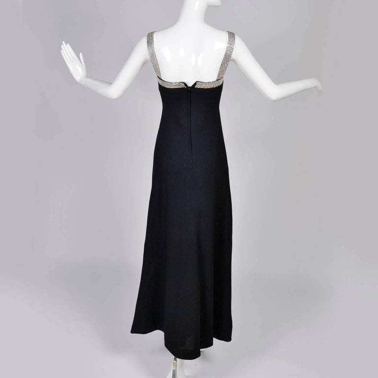 1970s Vintage I Magnin Black Evening Gown Dress W/ 6 Rows of ...