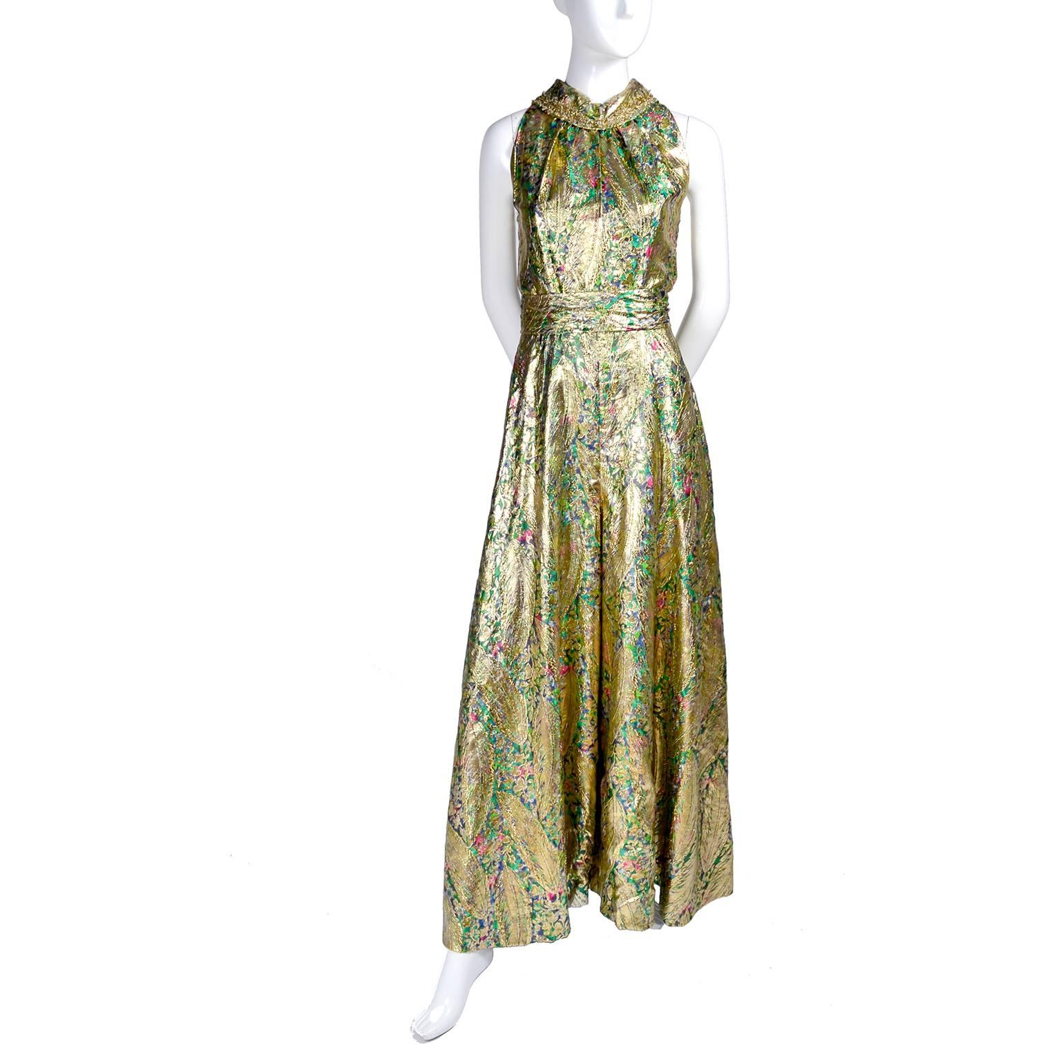 ff2fe30a367 1960s Vintage Gold Lame Wide Leg Jumpsuit Evening Dress Alternative For  Sale at 1stdibs