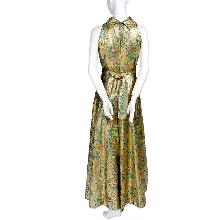 1960s Vintage Gold Lame Wide Leg Jumpsuit Evening Dress Alternative 7