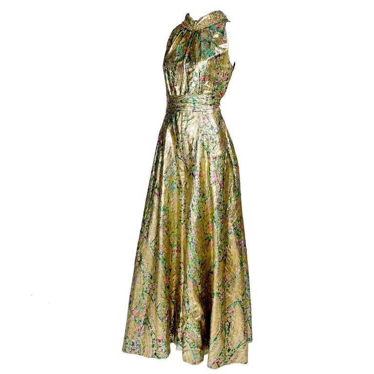 1960s Vintage Gold Lame Wide Leg Jumpsuit Evening Dress Alternative 1