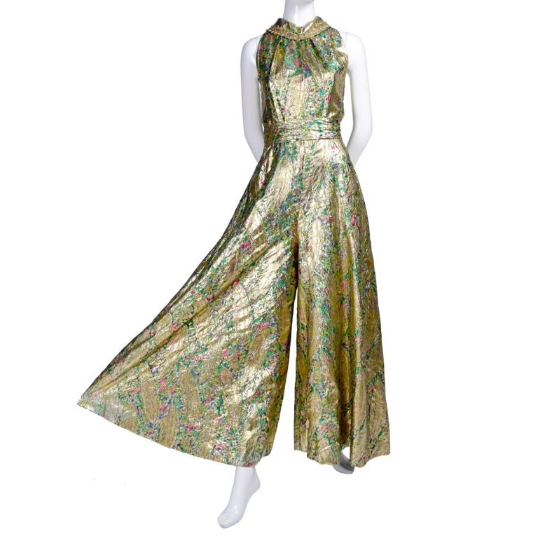 1960s Vintage Gold Lame Wide Leg Jumpsuit Evening Dress Alternative 2