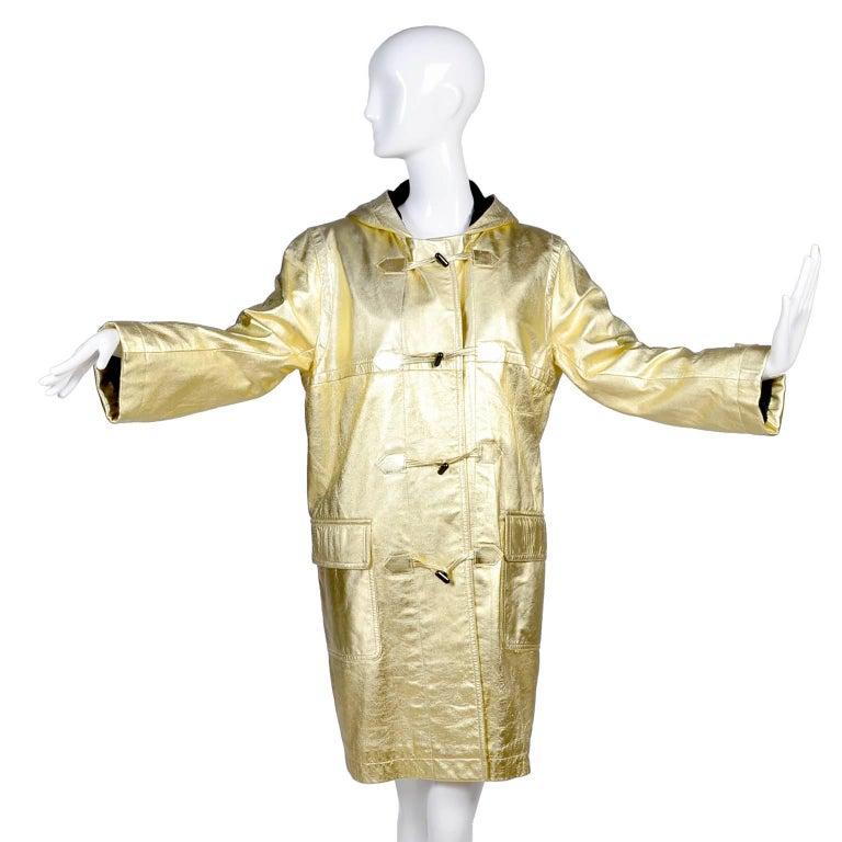 YSL Yves Saint Laurent Vintage Gold Leather Duffel Coat W/ Velvet Lined Hood  1