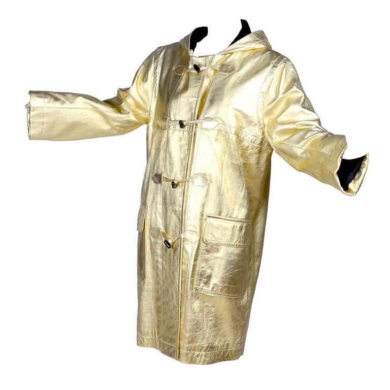 YSL Yves Saint Laurent Vintage Gold Leather Duffel Coat W/ Velvet Lined Hood