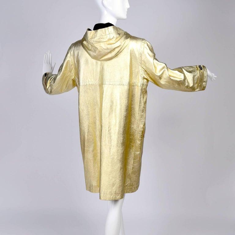 YSL Yves Saint Laurent Vintage Gold Leather Duffel Coat W/ Velvet Lined Hood  5