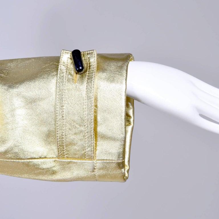 YSL Yves Saint Laurent Vintage Gold Leather Duffel Coat W/ Velvet Lined Hood  4