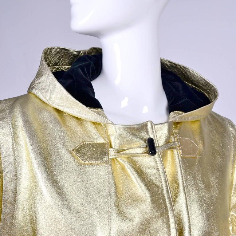 Women's YSL Yves Saint Laurent Vintage Gold Leather Duffel Coat W/ Velvet Lined Hood