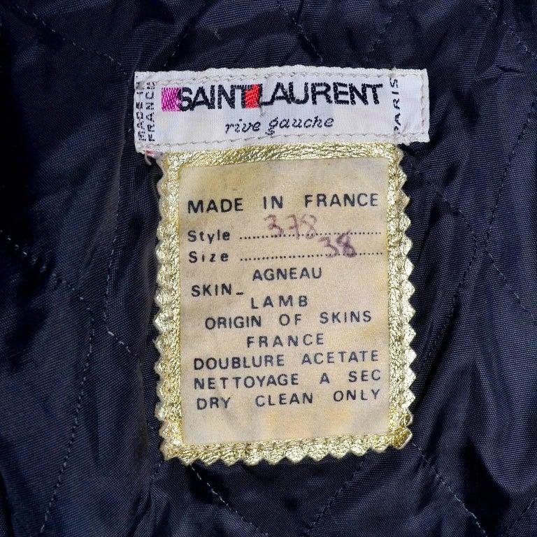 YSL Yves Saint Laurent Vintage Gold Leather Duffel Coat W/ Velvet Lined Hood  6