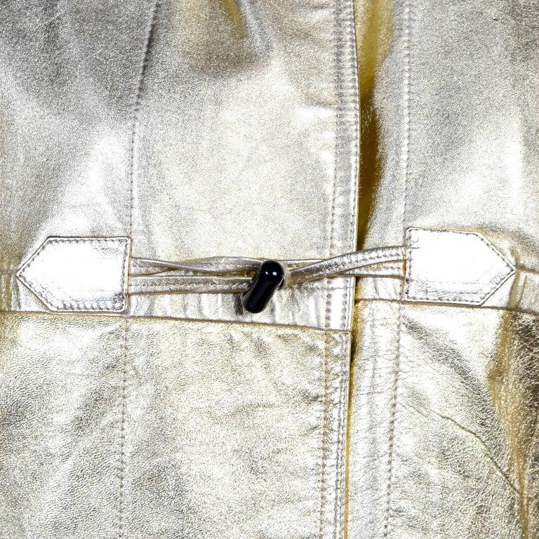 YSL Yves Saint Laurent Vintage Gold Leather Duffel Coat W/ Velvet Lined Hood  2