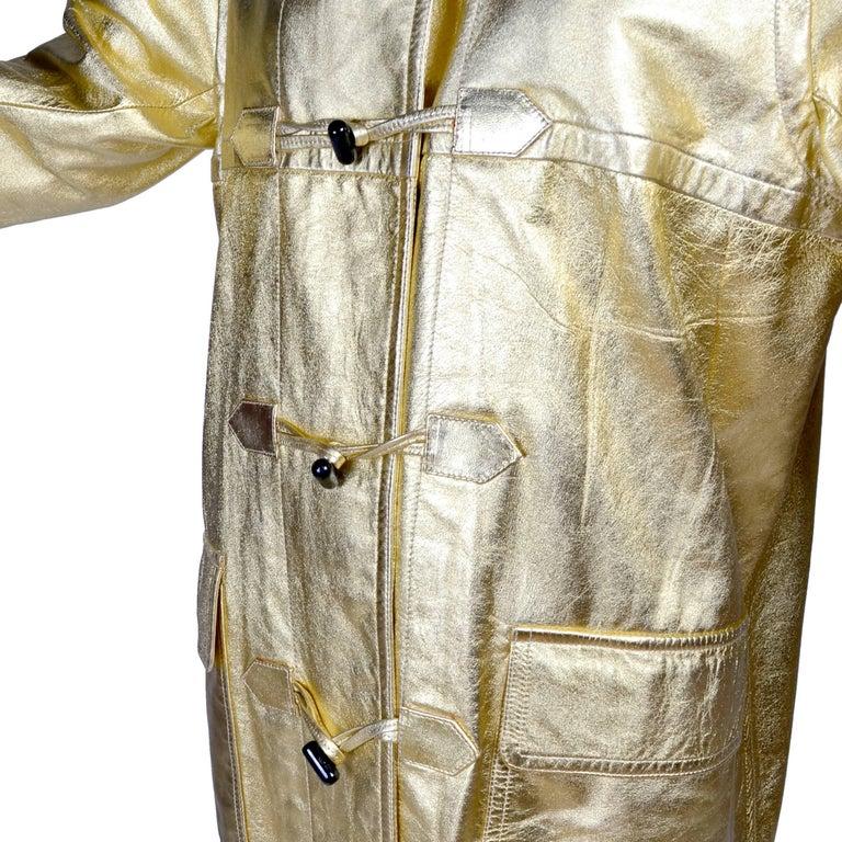YSL Yves Saint Laurent Vintage Gold Leather Duffel Coat W/ Velvet Lined Hood  3