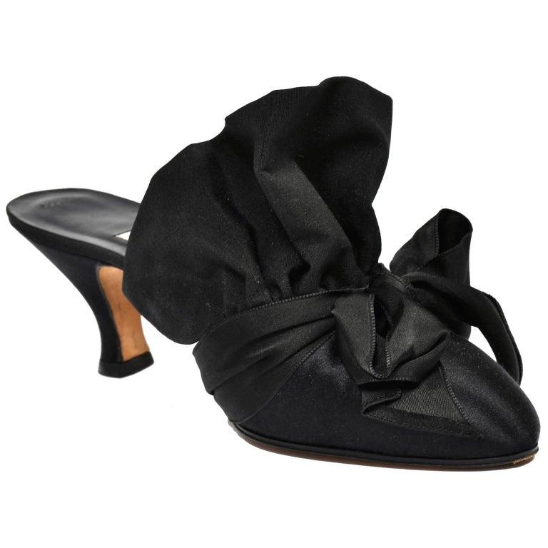 Manolo Blahnik Rare Vintage Black Ruffled Satin Bow Shoes Mules Size 39.5 8