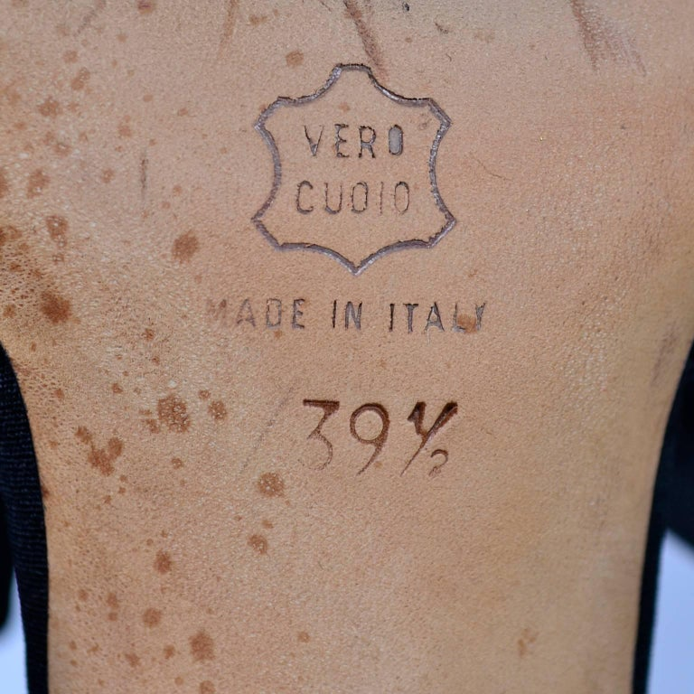 Manolo Blahnik Rare Vintage Black Ruffled Satin Bow Shoes Mules Size 39.5 5