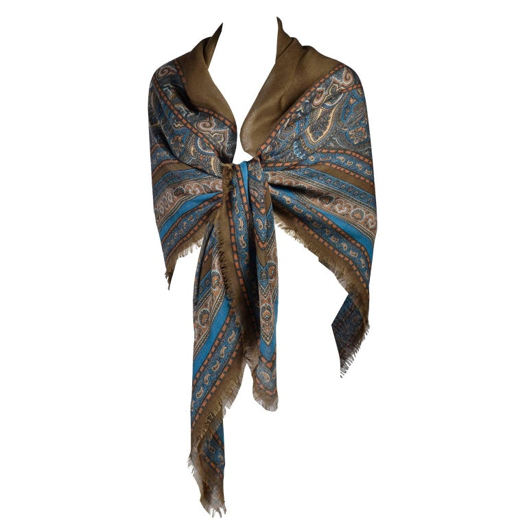 "1970s YSL Yves Saint Laurent 52"" Blue & Brown Wool Vintage Scarf or Shawl Wrap"