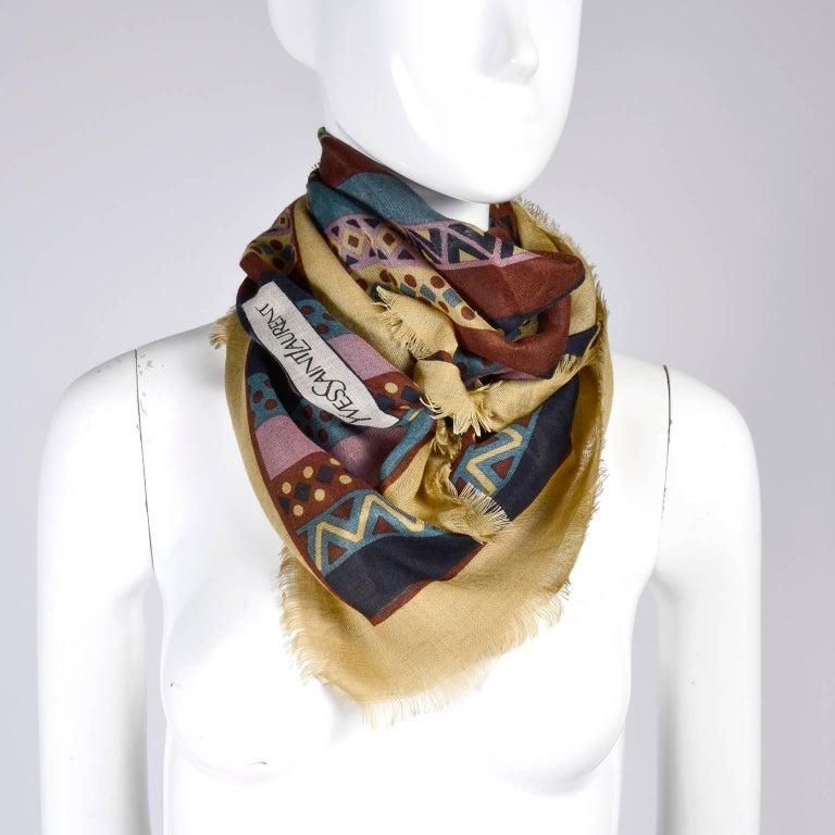 Yves Saint Laurent YSL Geometric Pattern Fine Wool Vintage Scarf 2