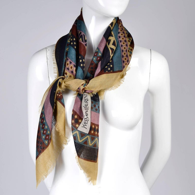 Yves Saint Laurent YSL Geometric Pattern Fine Wool Vintage Scarf 4