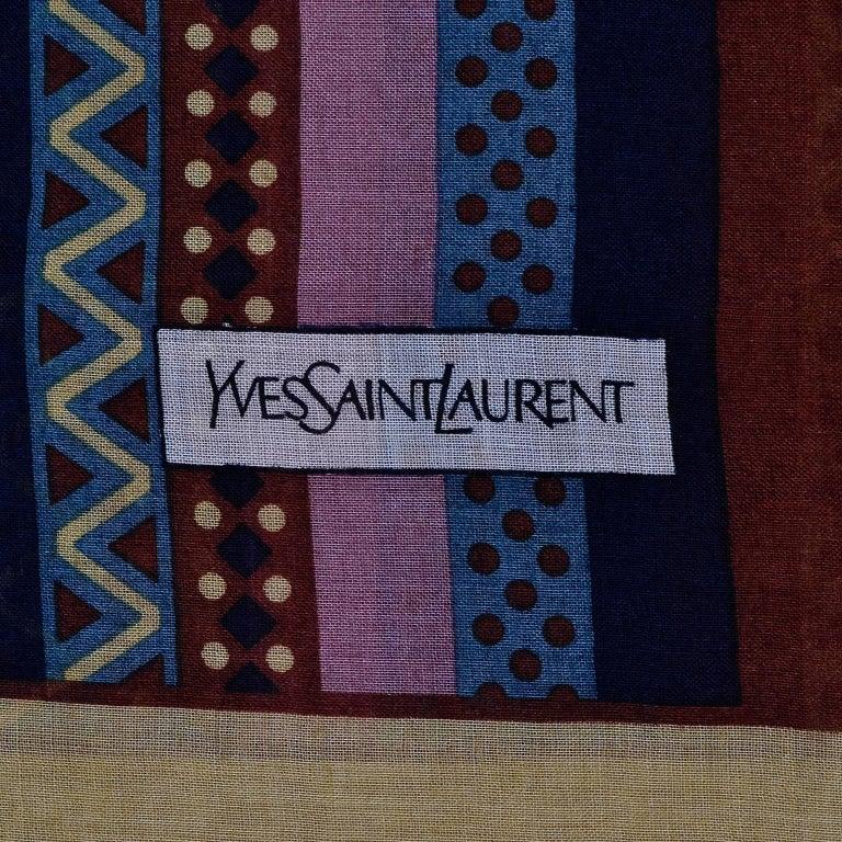 Yves Saint Laurent YSL Geometric Pattern Fine Wool Vintage Scarf 5