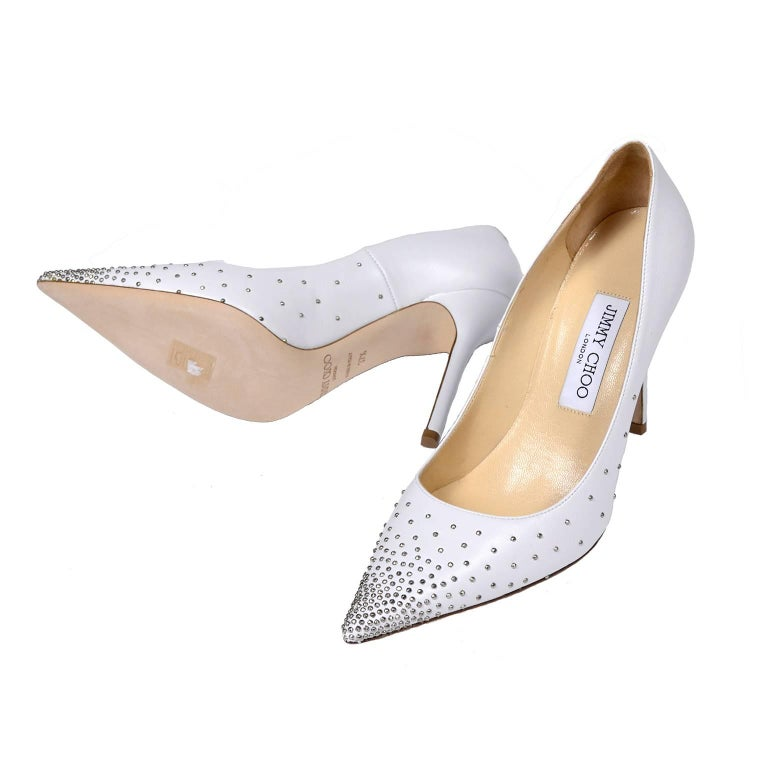 Jimmy Choo Abel White Leather Shoes with Silver Studs Unworn Size 37.5 For Sale 2
