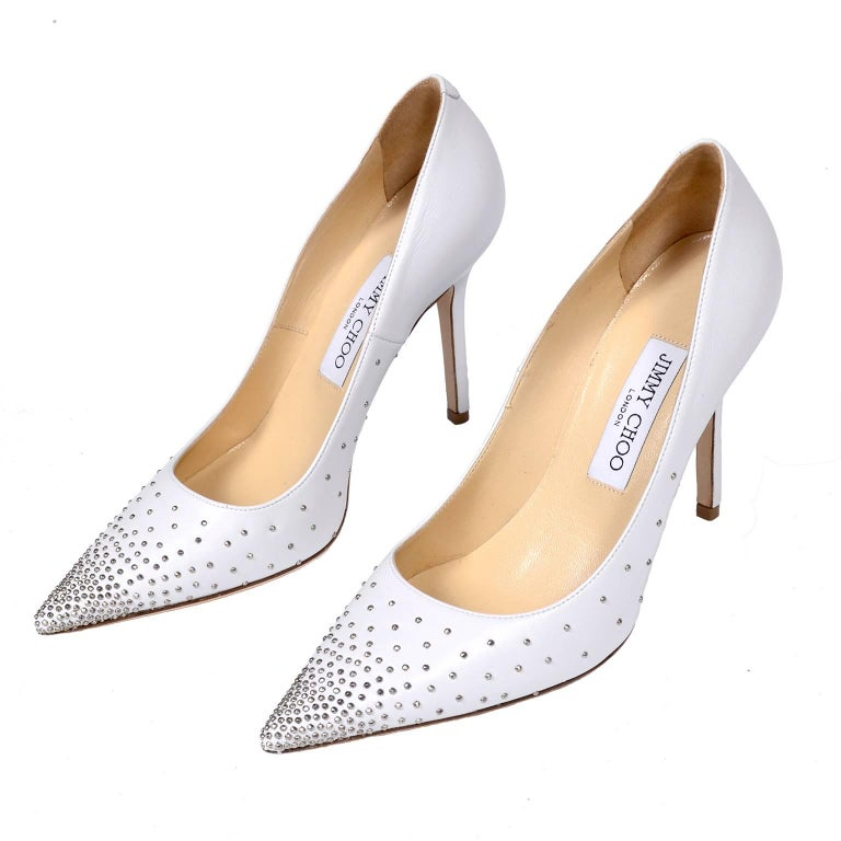 Women's Jimmy Choo Abel White Leather Shoes with Silver Studs Unworn Size 37.5 For Sale