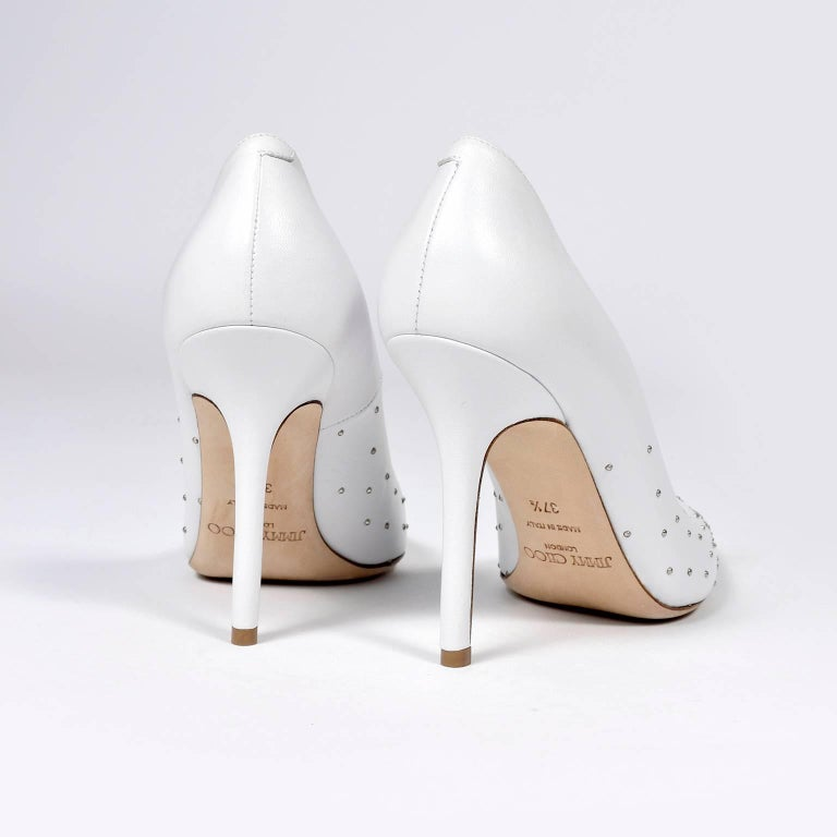 Beige Jimmy Choo Abel White Leather Shoes with Silver Studs Unworn Size 37.5 For Sale