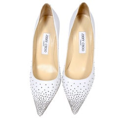 Jimmy Choo Abel White Leather Shoes with Silver Studs Unworn Size 37.5