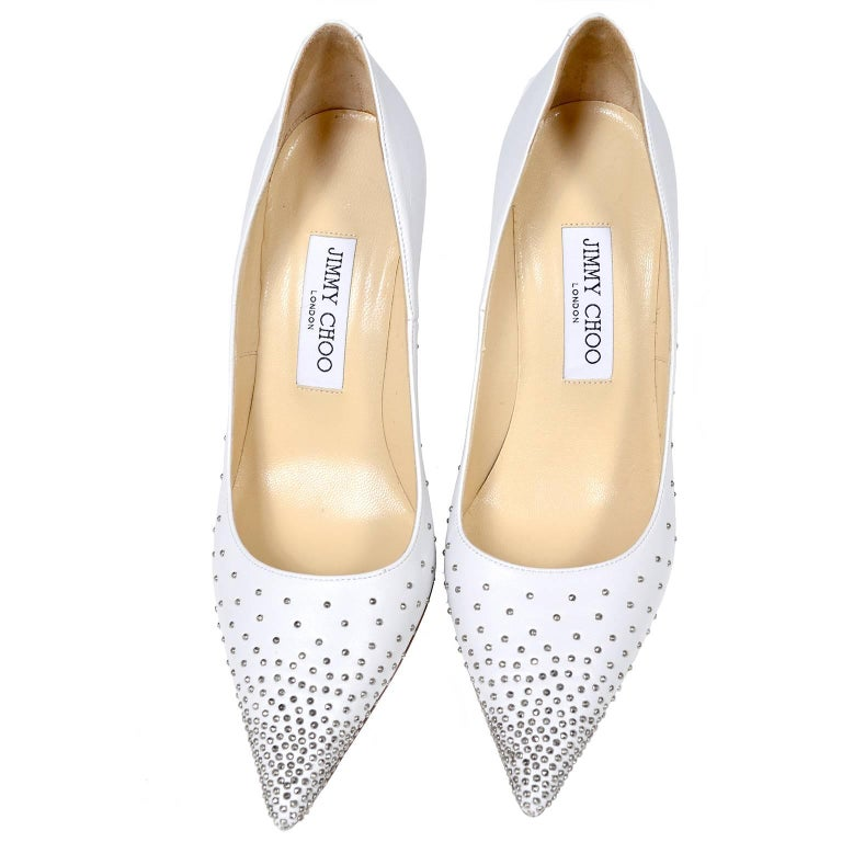 Jimmy Choo Abel White Leather Shoes with Silver Studs Unworn Size 37.5 For Sale