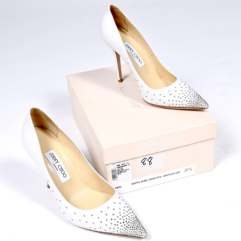 Jimmy Choo Abel White Leather Shoes with Silver Studs Unworn Size 37.5 For Sale 1