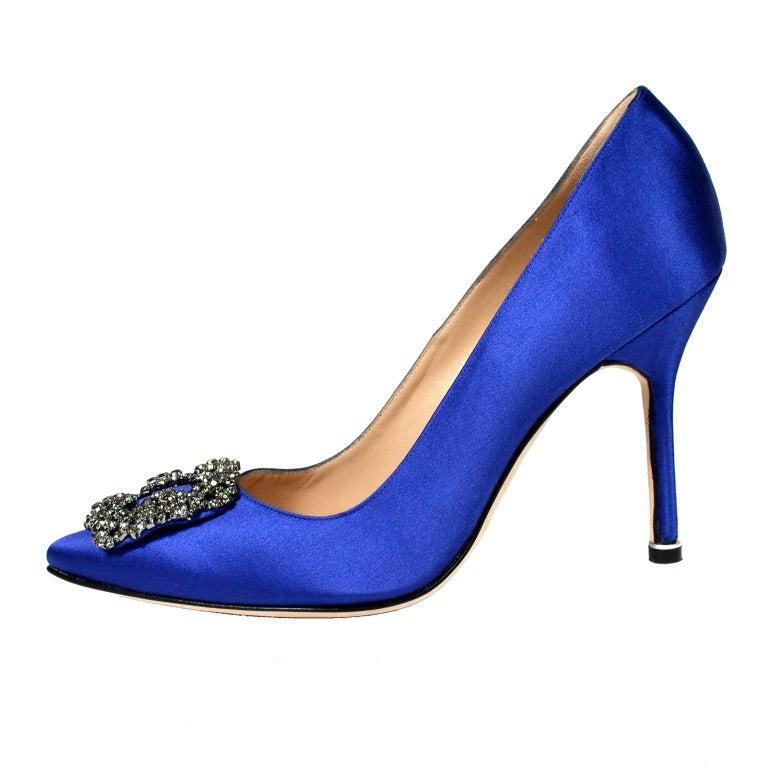 New Manolo Blahnik Carrie Bradshaw Blue Satin Shoes Lanza ...