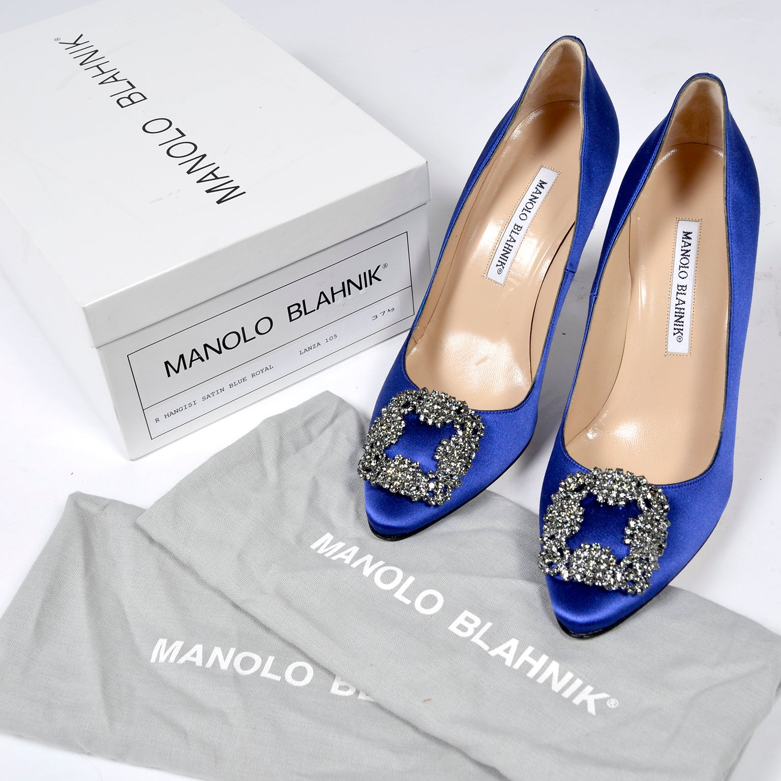 0a7434c86c641 New Manolo Blahnik Carrie Bradshaw Blue Satin Shoes Lanza Heels in box 37.5  at 1stdibs