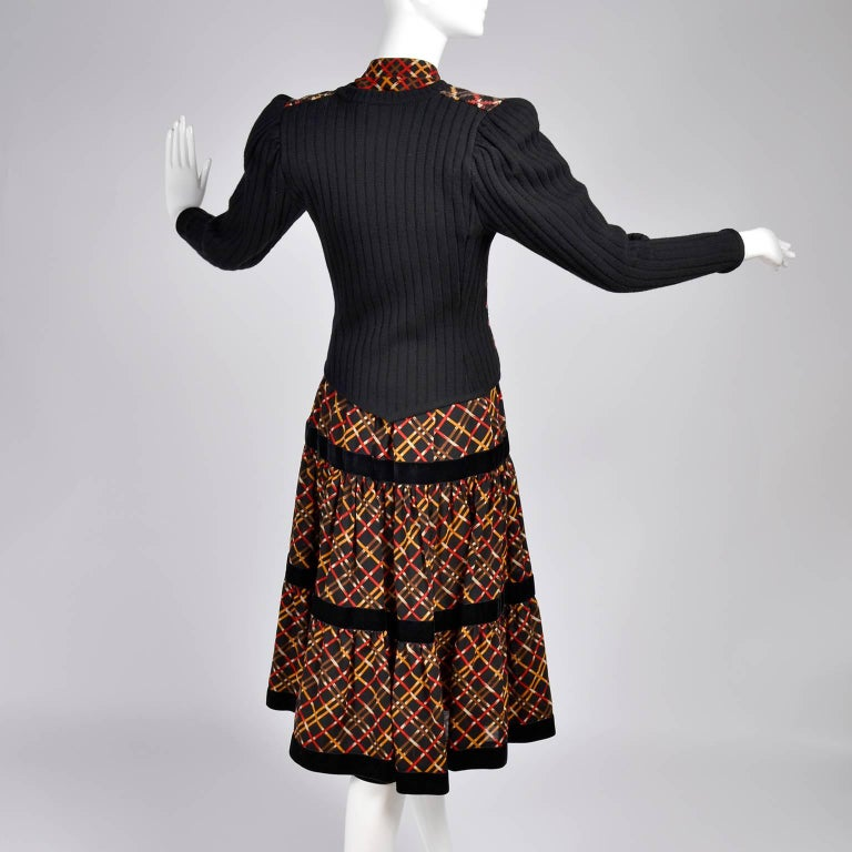 1970s YSL Yves Saint Laurent Russian Collection Plaid Skirt Blouse & Sweater Set For Sale 3