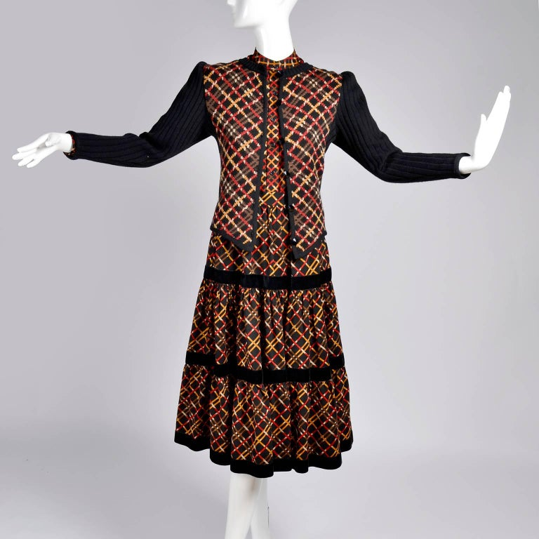 Black 1970s YSL Yves Saint Laurent Russian Collection Plaid Skirt Blouse & Sweater Set For Sale