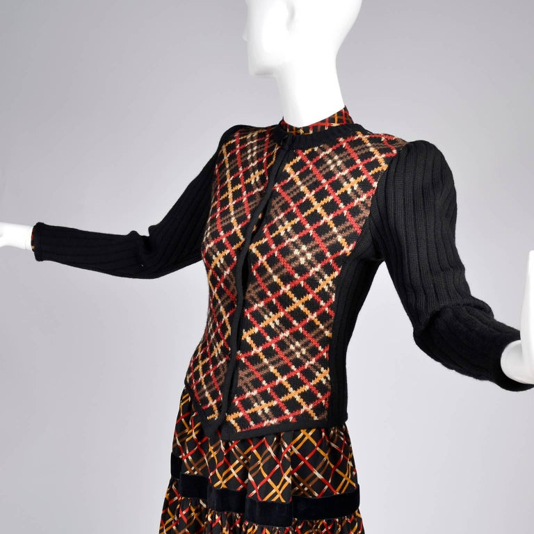1970s YSL Yves Saint Laurent Russian Collection Plaid Skirt Blouse & Sweater Set For Sale 2