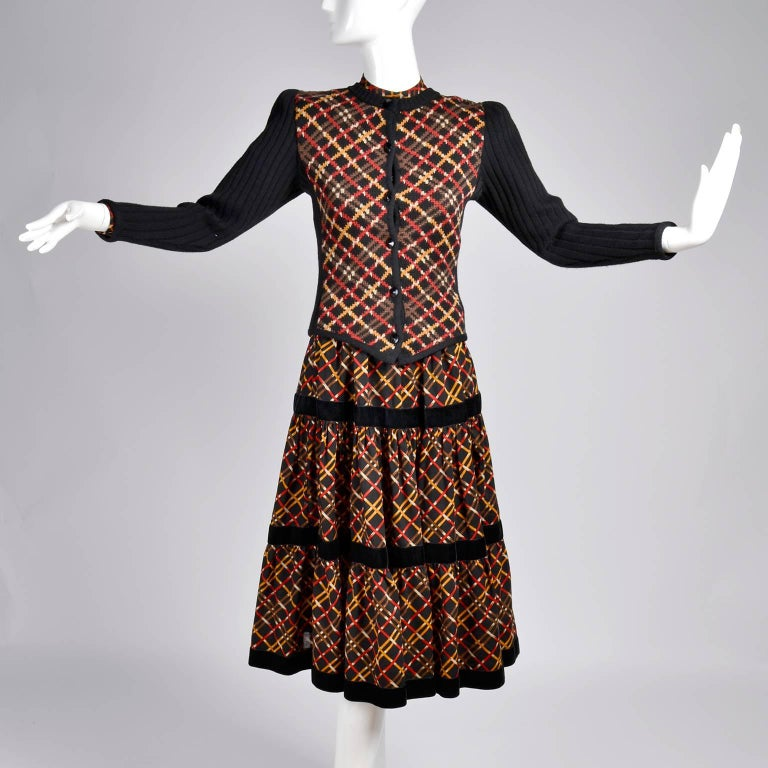 1970s YSL Yves Saint Laurent Russian Collection Plaid Skirt Blouse & Sweater Set For Sale 4