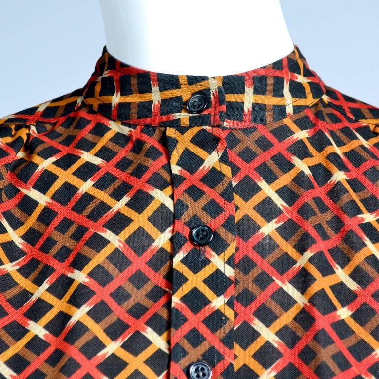 1970s YSL Yves Saint Laurent Russian Collection Plaid Skirt Blouse & Sweater Set For Sale 1