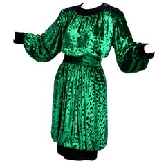Yves Saint Laurent YSL Vintage Green Velvet 2pc Dress Bubble Skirt & Top Outfit