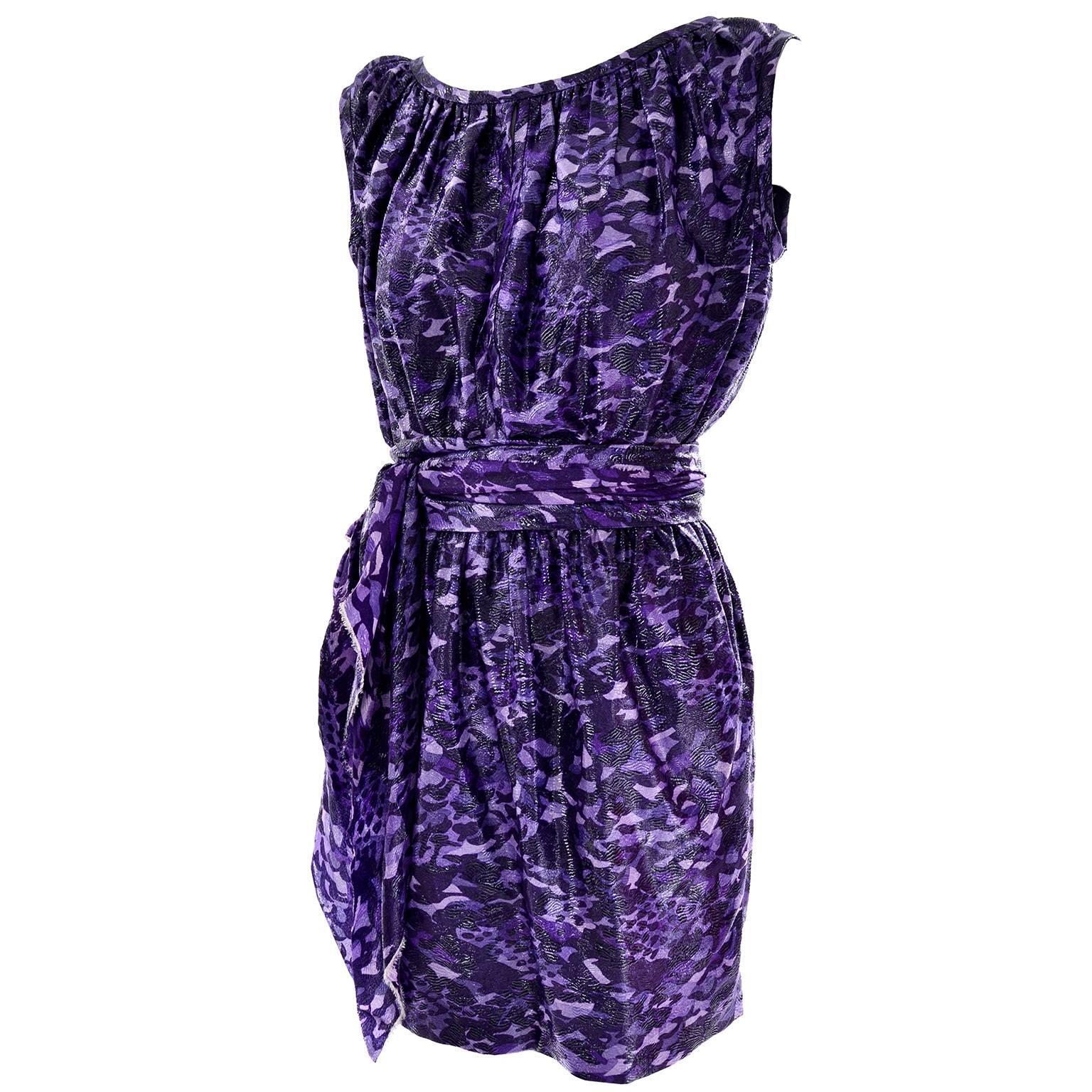 Marc Jacobs Dress in a Purple and Black Metallic Leopard Print Silk Size 4