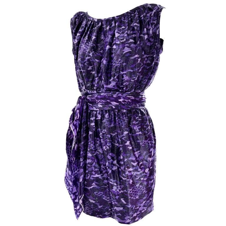 3260b8fa573c Marc Jacobs Dress in a Purple and Black Metallic Leopard Print Silk Size 4  For Sale